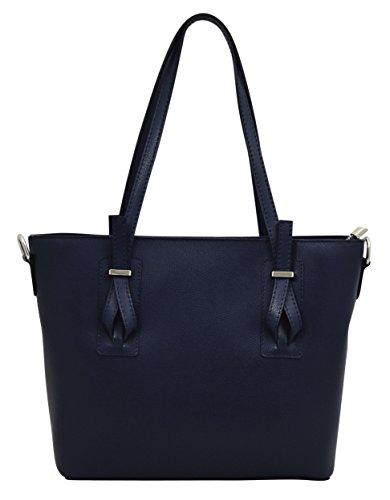 ZELINDA Shopper Borse Donna Borse Tote Vera Pelle Made in Italy Lavorazione Artigianale Blu scuro