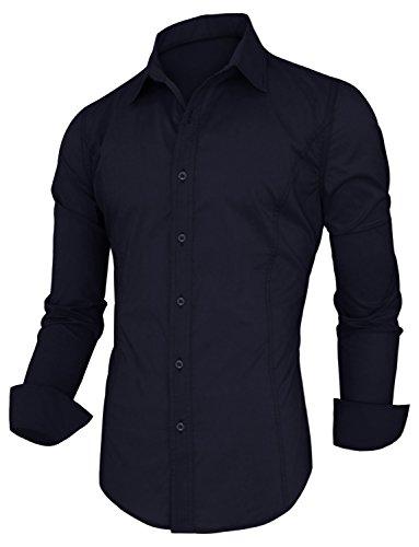 HRYfashion - Chemise casual - Avec boutons - Uni - Col Chemise Classique - Manches Longues - Homme - 05-Marineblau