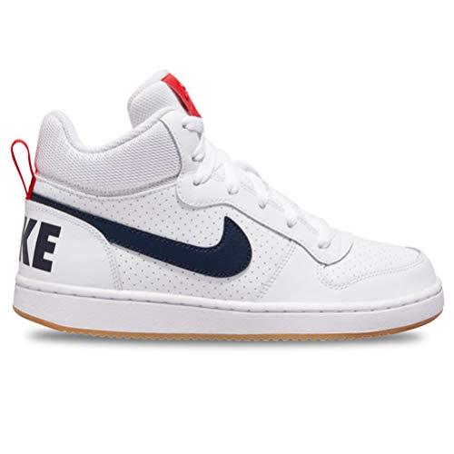 Nike Jungen Court Borough MID (GS) Basketballschuhe, Weiß (White/Obsidian/Univ Red/Gum Lt Brown 107), 36 EU - Obsidian-basketball-schuh