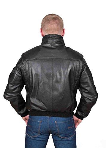 Herren Gepaßte Bomber Lederjacke Designer weiche hochwertige Mantel George Schwarz - 2