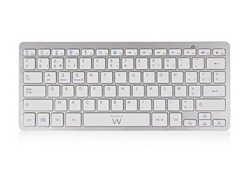 Ewent EM3168 Ultra Slim Bluetooth Keyboard Be Azerty Layout (Französisches Tastaturlayout) weiß/Silber