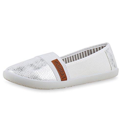 Damen Slipper Metallic Slip-ons Ballerinas Freizeit Schuhe Flats Silber