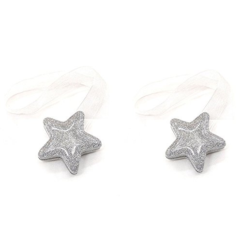 TP Mall - Magnetic clamps for curtains (2 units, rope clasp, star buckles, window decoration) silver
