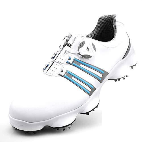 Mhwlai Scarpe da Golf da Uomo, Scarpe Sportive Impermeabili Scarpe Sportive da Uomo Bottoni Fibbia Scarpe Sportive da Allenamento Antiscivolo da Uomo,B,43