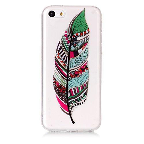Custodia iphone 5C - Cover iphone 5C - Cozy Hut Case per iphone 5C [Ultra-Thin] Air Skin [Soft Clear] Premium Semi-transparent Super Lightweight, Custodia per iphone 5C - Cranio nero fiore Piume verdi