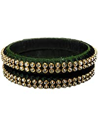 Kiranya Creations Dark Green Plastic & Silk Thread Bangle Set For Women - Set Of 2 (Size: 2.6, KRC_21)