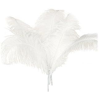 TOOGOO 10 Pcs Naturel Plumes D'Autruche Decoration Noel Blanc 45-50Cm
