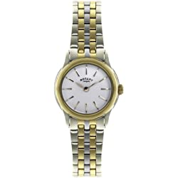 Rotary Women's Quartz Watch with White Dial Analogue Display and Two Tone Gold Plated Bracelet LB02571/03