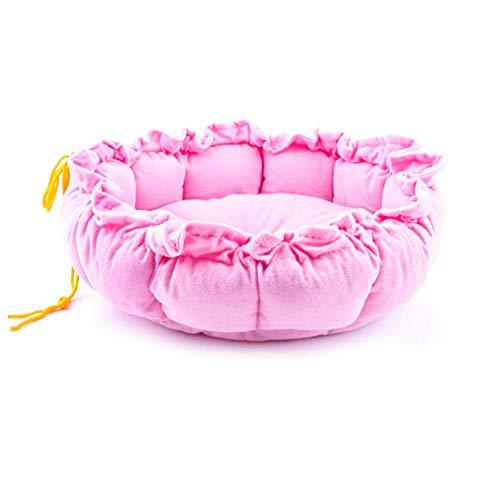 ZZX Hundebett - Welches Haustier Bett Nest Pad Dual Use Abnehmbar Waschbar Bequeme Couch Kürbis-Nest Als Geschenk Haustier Hund Schlafsofa,Pink,S(62X62cm) -
