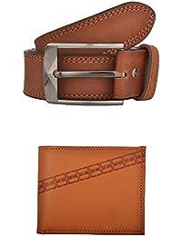 Exotique Men's Tan Casual Belt & Wallet Combo (EC0006TN)