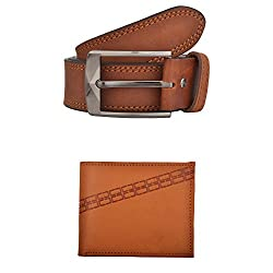 Exotique Mens Tan Casual Belt & Wallet Combo (EC0006TN-L)