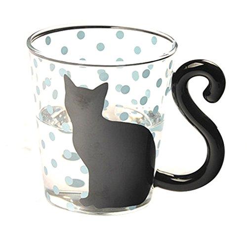 Puntos Azules Linda Creativa De Vidrio Gatito Gato Taza De La Taza De