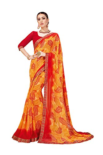 Designer Sarees Printed Georgette Saree for Women with Unstitched Blouse Piece. -