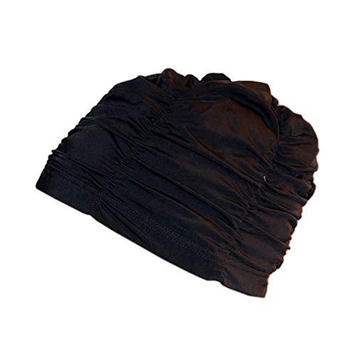 Swimxwin Gorro de Piscina Dolcevita Negro | Gorro para Pelo Largo| Gorro de Tejido | Gorro de Natación|Alta Comodidad y Elegancia | Diseño y Estilo Italiano