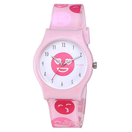 Kinderuhren KZKR Nette Lächeln Gesichtsform Uhr Kleine Mädchen Uhr Weiche Bequeme Silikon-Armbanduhr für Kinder (KW031) (Light Up Legos)