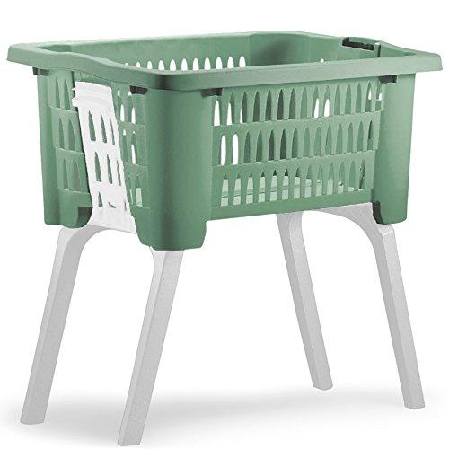 Wäschekorb mit ausklappbaren Beinen aus Kunststoff Wäschesammler Tragegriffe arbeitserleichternd 38 Liter 60x40x58cm Grün