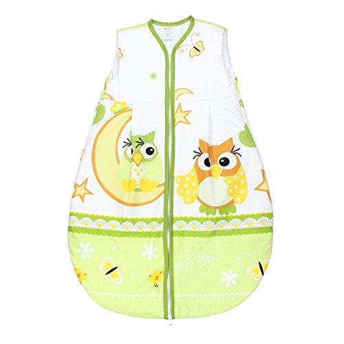 TupTam Babyschlafsack Wattiert ohne Ärmel ANK002, Farbe: Eulen Grün, Größe: 92-98