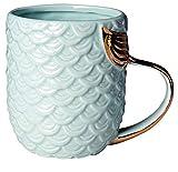 VANUODA Meerjungfrau Tasse, Keramik Kaffee Becher mit Meerjungfrau Schwanz Griff, Geschenk für Muttertag - Weihnachten - Geburtstag - Braut Engagement - Hochzeit (Blau)