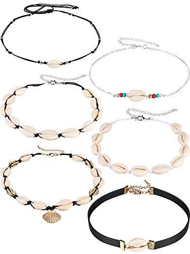 6 Stücke Natürliche Shell Halsketten Choker Set Böhmische Perle Shell Choker Handgemachte Einstellbare Shell Halsketten Hawaii Strand Shell Schmuck für Mädchen Damen -