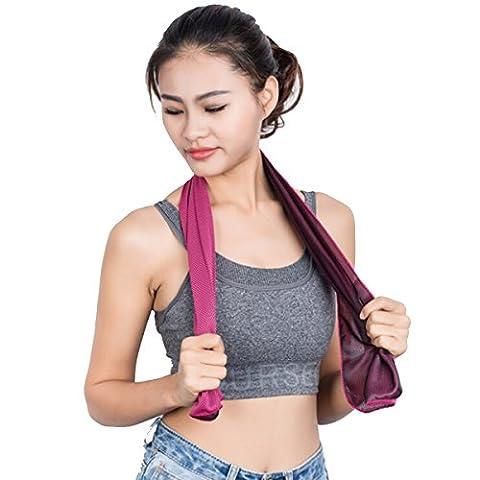 Butterme 2pcs Super Absorbant Sports Sweat Cooling Towel Summer Ice Cold Cooling Neck Headband Écharpe Serviettes pour la course Gym Fitness Yoga Escalade Exercice Extérieur