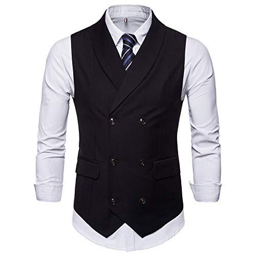 UJUNAOR Mode Herren Jacken für Hochzeit ärmellose Solide Weste Mantel Bluse Mit Knopf(Schwarz,CN ()