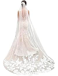 f10a1b6dcb68d White Ivory Wedding Veil Cathedral Length Lace Edge Soft Tulle 3m Long Bridal  Veil with Comb