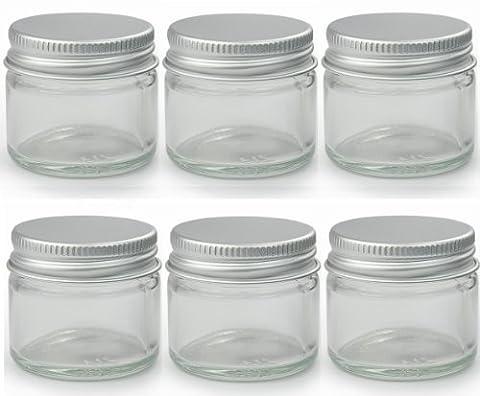 6 x Petit 15ml Transparent Verre Bocaux/Pots. Convenable pour Baumes