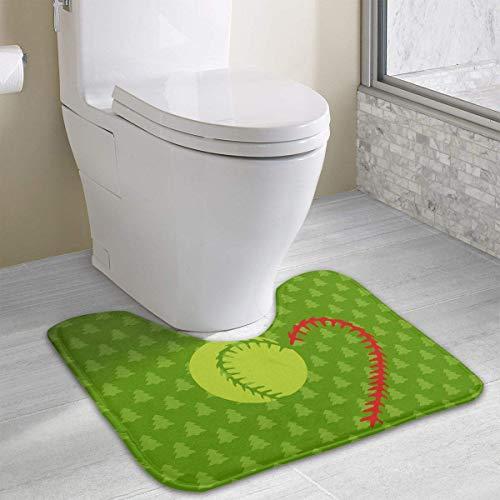 Hoklcvd Baseball Softball Lace U-Shaped Toilet Floor Rug Non-Slip Toilet Carpets Shower Mat -