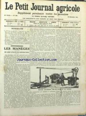 PETIT JOURNAL AGRICOLE [No 937] du 14/12/1913 - LES MANEGES - DE LEUR UTILITE EN AGRICULTURE - DROIT RURAL PAR DELAUNAY - TRAITEMENT DES POMMES A CIDRE - ETAT DU MARCHE