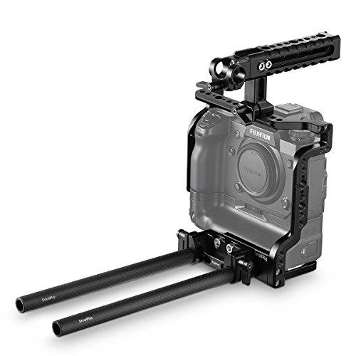 SMALLRIG X-H1 Cage Kit Kompatibel mit Fujifilm X-H1 mit Akkuteilgriff, inkl. Griff Oben, Käfig, Doppelstabklemme, Zwei 15-mm-Stangen - 2136 -