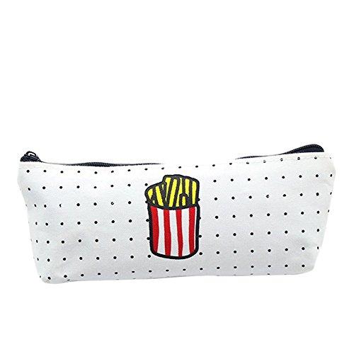 Qifumaer Trousse à Crayon Cosmetic Bag Toile Sac Crayon Cas étudiant Fourniture Scolaire 1 pcs Size 20.5 * 9.5cm (Frites) Qifumaer