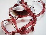 Schleifenband mit Rosen und Perlen: Trendyband Weinrot