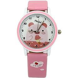 foxqueena-142PU Synthetik Leder Gurt Cartoon Pig Kids Quarz Handgelenk Uhren Pink