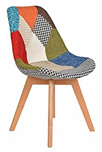 ts-ideen 1 x Design Patchwork Poltrona Sedia Soggiorno Cucina Legno Plastico Multicolore
