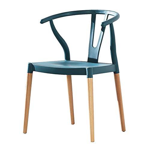 dall Legno Massiccio Sedia da Pranzo Poltrona in Plastica Modern Home Poltrona Cucina Ristorante 55X48X78cm (Colore : Blu)