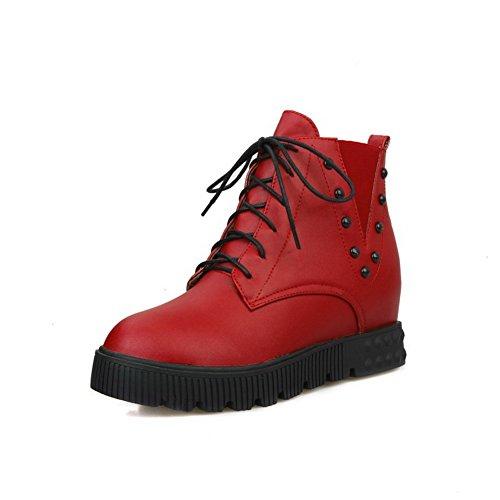 VogueZone009 Damen Niedrig-Spitze Mittler Absatz Rein Blend-Materialien Stiefel, Rot, 43