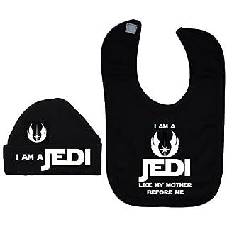Acce Products Ich bin ein Jedi wie meine Mutter vor mir Baby Lätzchen und Beanie Hat/Cap 0bis 12Monate Gr. XXS, schwarz