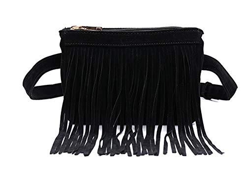 Damen Vintage Fransen Gürteltasche Outdoor Peeling Bag Mini Aufbewahrungstasche-black -