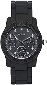 Guess Women's Black Dial Silicone Band Watch - W09
