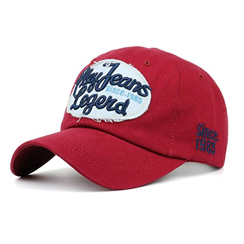 Unisex Baseball Cap Hffan Mode Sommer Kappe Denim Hüte Super Coole Snapback Hip Hop caps Chic Brief kappe Sommer Sport Mütze Schirmmütze Einstellbar Hat (Rot, 54~60cm) (Starter Snapback Hats)