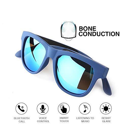 LIUQIGRASS Knochenleitungssport Bluetooth Drahtlose Kopfhörer wasserdichte Stereo-Kopfhörer Intelligente Knochenleitungs-Polarisationsbrille,Blue