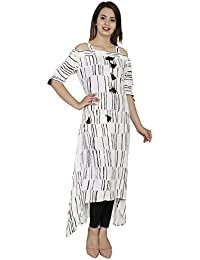 RainDrop Women's Rayon 3/4 Sleeve Square Neck Cold Shoulder A-Line Pom Pom Kurti (RDSCUT_08 ; White & Brown Color)