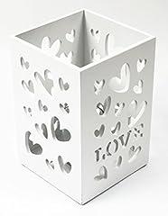 Idea Regalo - Bianco shabby chic in legno amore cuore portacandele casa regali di nozze di San Valentino