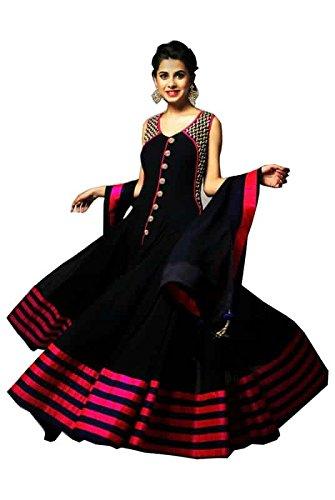 FebForrest Womens\'s Black Georgette Attractive Fusion Dress Materials/Salwar Suit (Free Size) [SDM 16 (FF_C1)]