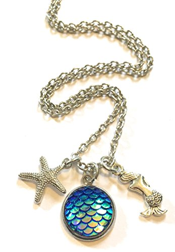 Antique-silver-tone-mermaid-scales-charm-necklace-with-starfish-in-gift-box