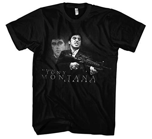 Scarface Männer und Herren T-Shirt | Tony Montana Gangster ||| (M, Schwarz)