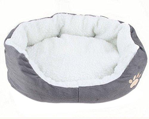 Spaufu Hundebett Runde Form Haustierbett, warm, liegend Matratze für Katzen Hunde grau (Größe Optional -