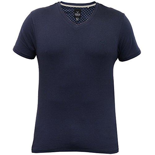 Herren T-shirt Threadbare Kurzärmeliges Top V Ausschnitt Freizeit Einfarbig Mode Sommer Neu Marineblau - MMW020PKA