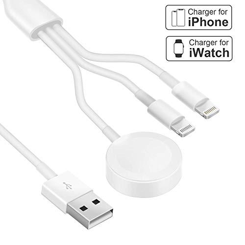 Caricabatterie wireless YOMENG per Apple Watch, cavo di ricarica magnetico 2 in 1 per iWatch serie 4/3/2/1 38 40 42 44mm Caricabatterie portatile USB per iPhone per Apple XR XS X 8 7 6