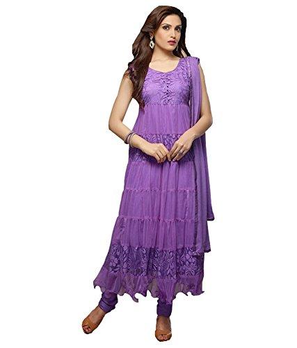 Mrig Women Brasso & Net Salwar Suit Set (Beautiful Long Purple Anarkali Suit _Purple _Free Size)
